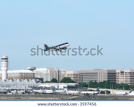 commercial jet in flight just after takeoff from Reagan National Airport in Washington, DC.