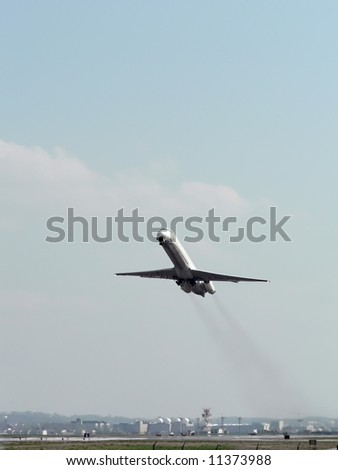 commercial jet taking off the runway from Reagan National Airport in Washington, DC. copy space included