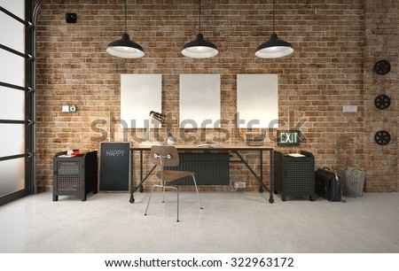 Commercial office in an industrial interior