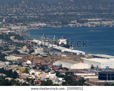 Commercial Sea Port Mazatlan Harbor, Mexico as viewed from the el Faro Lighthouse