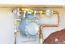 Commercial size gas meter with copper piping
