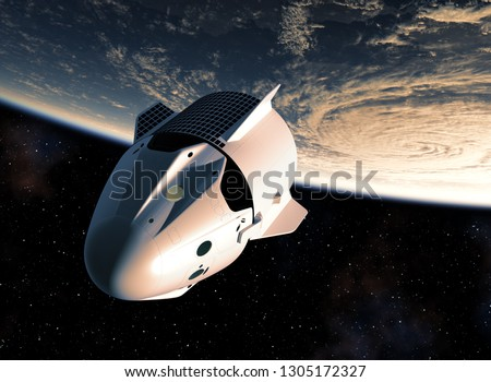 Commercial Spacecraft Orbiting Planet Earth. 3D Illustration.