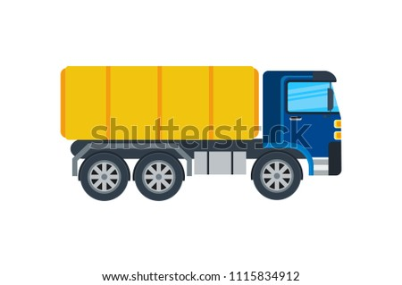 Commercial truck isolated icon. Modern lorry car, freight transport side view illustration in flar design.