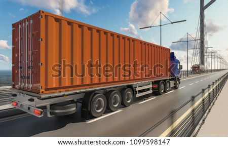 Commercial Trucks Moving in Different Directions on Bridge 3d rendering