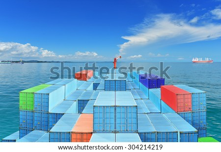 Commercial Vessels Marine Bulk Containers were traveling in sea freight under blue sky and cloud.