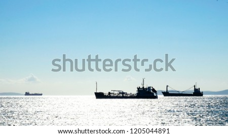 Commercial vessels waiting at sea #1205044891