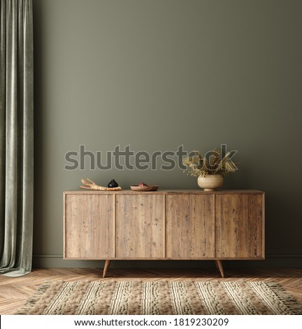 Commode with decor in living room interior, dark green wall mock up background, 3D render ストックフォト ©