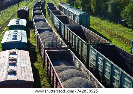 Commodity Railway Station. Top view of a Freight wagons. Transportation