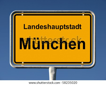 Common city sign of München (Munich), Germany