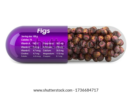Common fig, vitamins and minerals composition in figs. 3D rendering isolated on white background Stock foto ©
