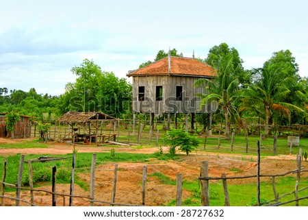 Common low buildings in Cambodian jungles