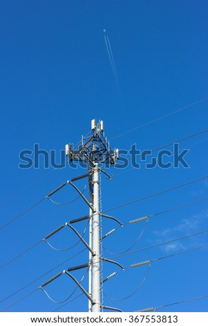 Communication and power lines. Intelligent equipment enables planes to navigate the airspace. #367553813