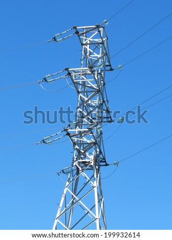 Communication antenna tower building with the sky background. Telecommunication aerial. Mobile phone communication antenna tower.  #199932614