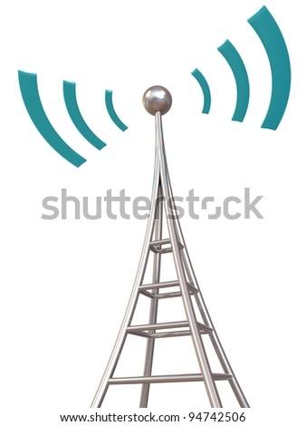 Communication antenna tower on white background
