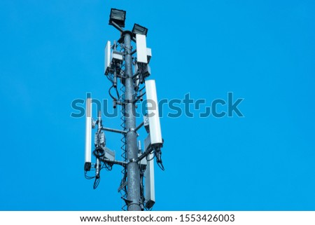 communication antenna tower with blue sky,Telecoms technology