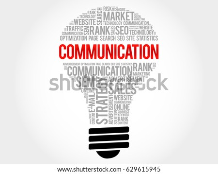 COMMUNICATION bulb word cloud collage, business concept background