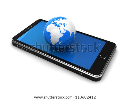 Communication concept: blue globe placed on cellphone
