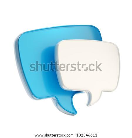 Communication emblem text speech bubble icon isolated on white