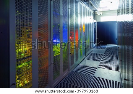 communication equipment room with lighting in the data center