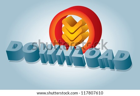 Communication graphics with Download sign and abstract background