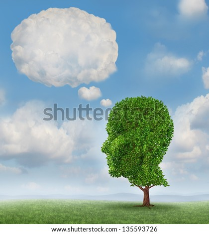 Communication growth with a tree shaped as a human head with a blank word bubble made of clouds as a business concept of growing ways of sending a message using cloud technology.