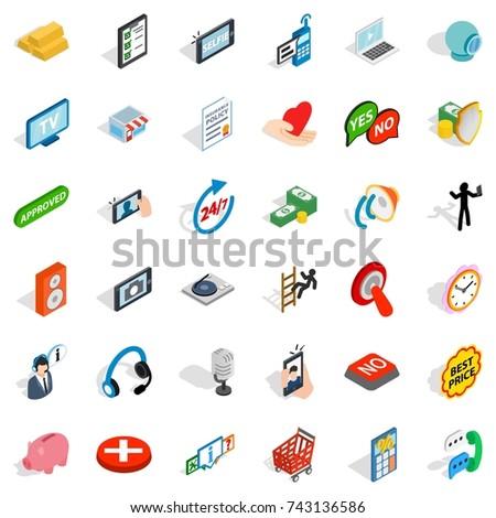 Communication icons set. Isometric style of 36 communication  icons for web isolated on white background