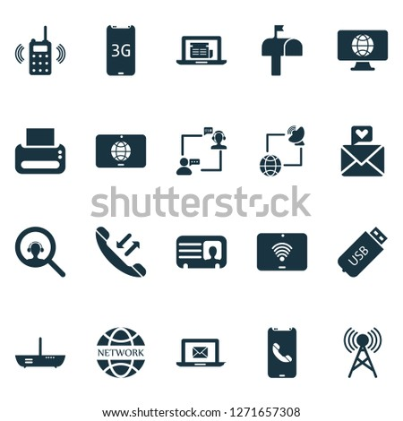 Communication icons set with worldwide, male card, network communications and other magnifier elements. Isolated  illustration communication icons.