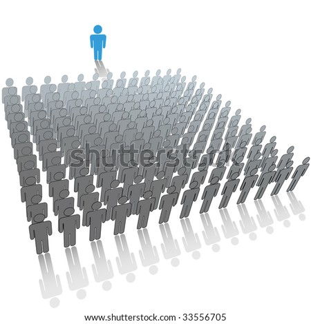 Communication leader or speaker talks in front of a large audience group of people.