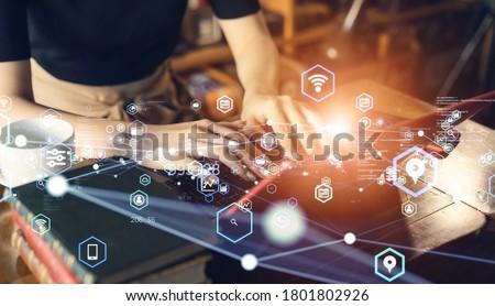 Communication network concept. Digital transformation. Foto stock ©