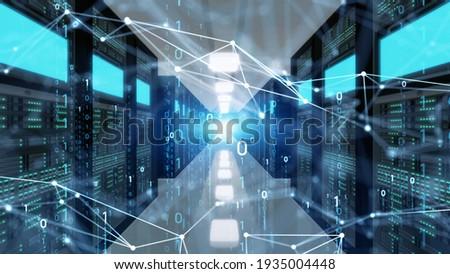 Communication network concept. Digital transformation. Data center. Computer server. 3D rendering.