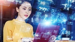 Communication network concept. Young asian woman in the office. GUI (Graphical User Interface).