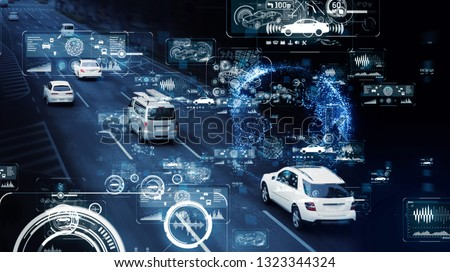 Communication network of transportation. GUI (Graphical User Interface). HUD (Head up Display). #1323344324