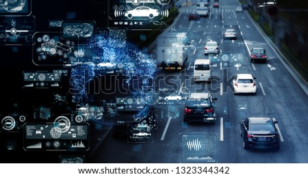 Communication network of transportation. GUI (Graphical User Interface). HUD (Head up Display). #1323344342