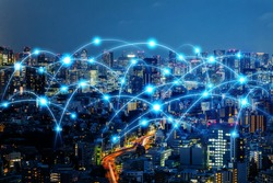 Communication network of urban city. Smart city. Internet of Things. IoT.