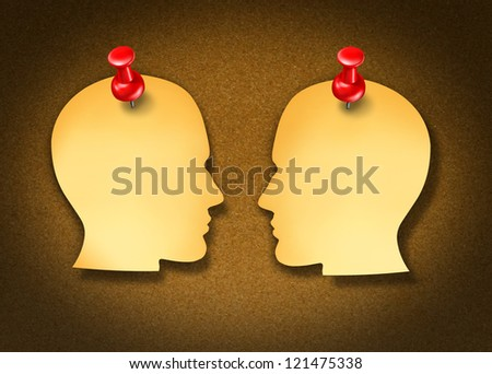 Communication Network strategy with two blank yellow office notes and red thumb tacks in the shape of human heads face to face in a social exchange of information pinned on a cork board.