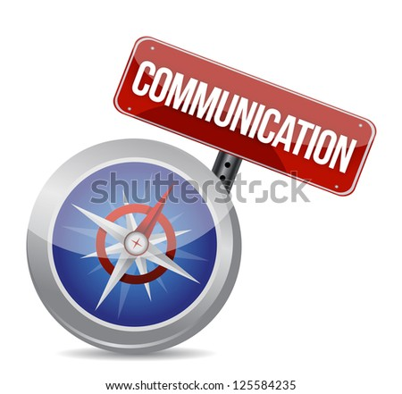 communication red word on conceptual compass illustration design