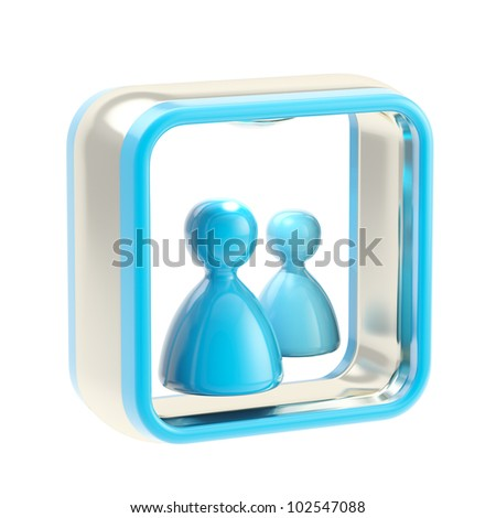 Communication social media glossy icon as application emblem isolated on white - stock photo