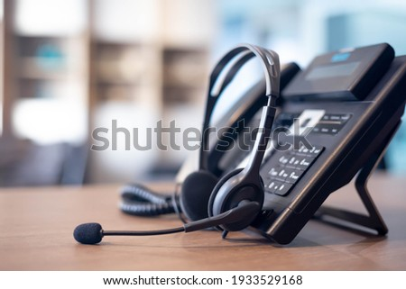 Communication support, call center and customer service help desk. VOIP headset for customer service support (call center) concept Zdjęcia stock ©