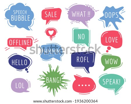 Communication tags. Cartoon speech bubbles with humor phrase text sound handdrawn balloons