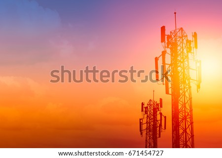 communication tower or 3G 4G network telephone cellsite with dusk sky with space for text