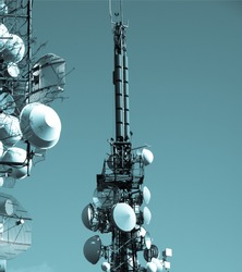 Communication tower radio mast with antenna aerial - cool cyanotype
