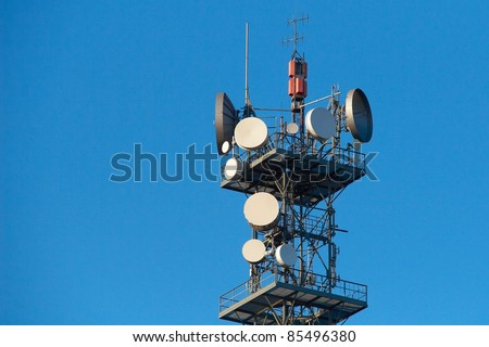 Communication tower. TV and radio transmitter - stock photo