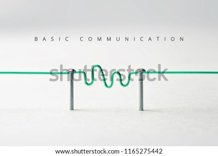 Communication. Two entities or network being connected with green wire with wave form or transmission in middle. Communication, Networking, social media, internet communication abstract.