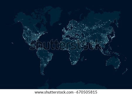 Communications network map of the world, raster version