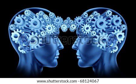 communications networking brain lobes team work together synergy blue gears cogs in motion