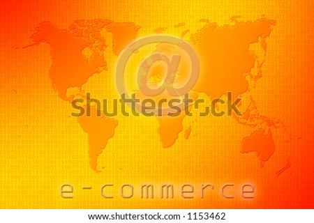 Communications world map on a binary code red and yellow background