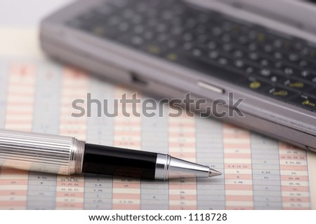 Communicator and pen on a chart