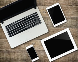 communicator mockup tablet similar to ipad modern electronic device on wood background