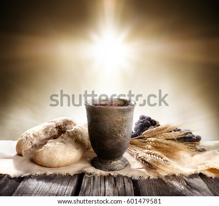 Communion - Unleavened Bread Chalice Of Wine   Stock photo ©