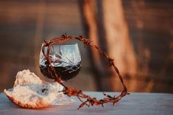 Communion wine and bread scene